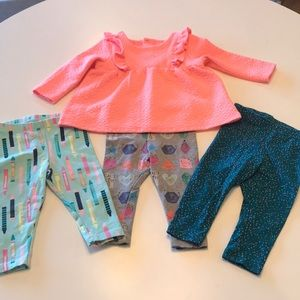 Cat & Jack top with three matching  leggings